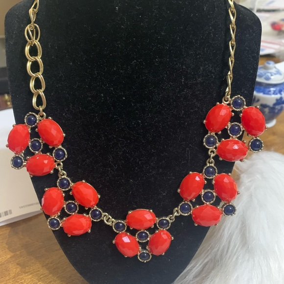 Vintage Red & Navy Necklace